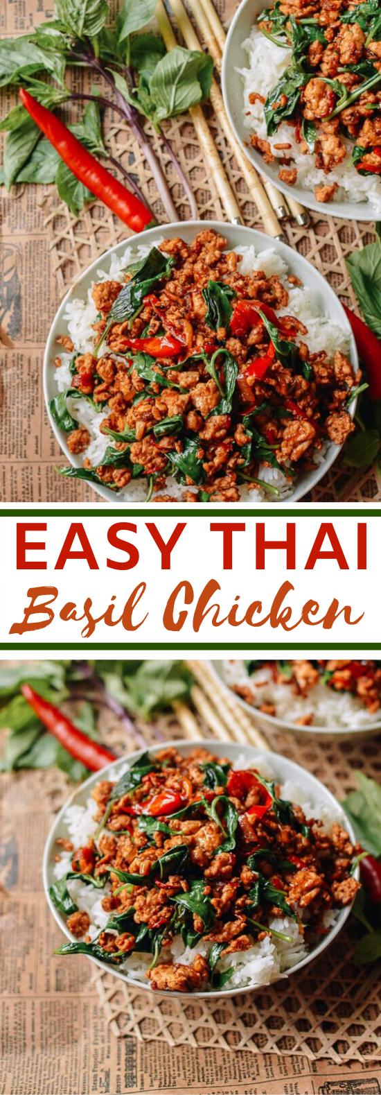 Thai Basil Chicken (Easy Gai Pad Krapow) #chicken #recipes #dinner #weeknight #asianfood
