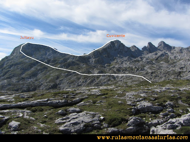 Ruta Ercina, Jultayu, Cuvicente: Vista del Jultayu y Cuvicente desde el Jito
