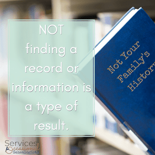Hiring a professional genealogist. What if genealogy results are not found? A: That's still a result! See the post to learn more.