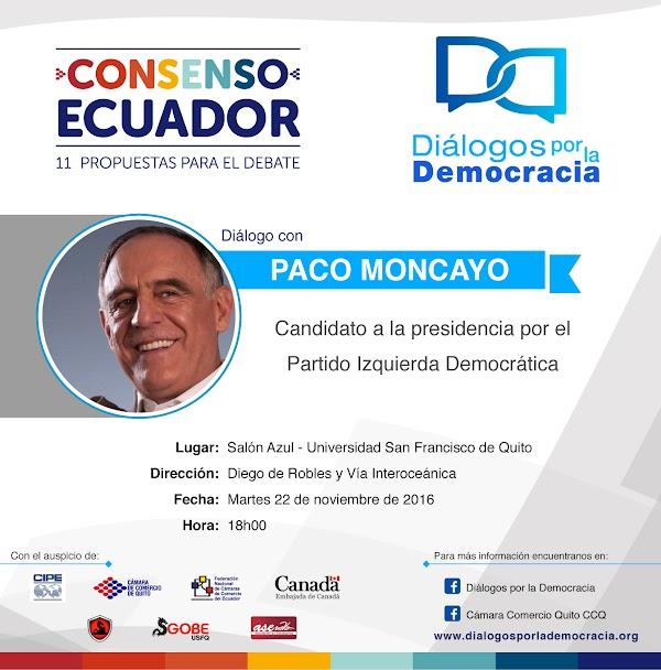 Diálogos por la Democracia presenta a Paco Moncayo candidato a la presidencia por el Partido Izquierda Democrática, martes 22 de noviembre