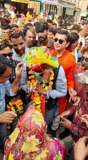 राजवर्धन सिंह दत्ती गांव का विजय जुलुस