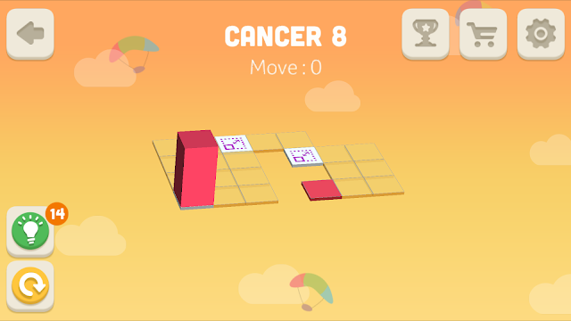 Bloxorz Cancer Level 8 step by step 3 stars Walkthrough, Cheats, Solution for android, iphone, ipad and ipod