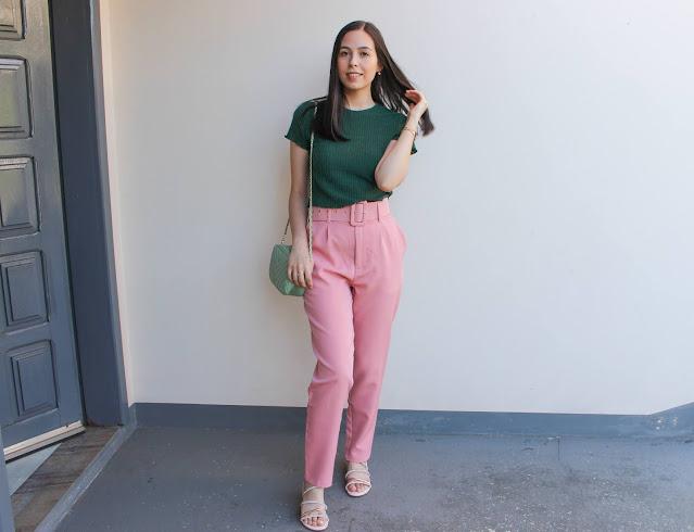 Look elegante rosa e verde!