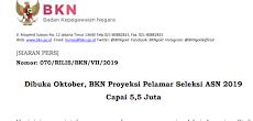 Jadwal Pendaftaran Seleksi CPNS dan PPPK (P3K) Tahun 2019