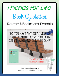 FREE Friends for Life quotation poster with readalike bookmarks