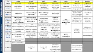 Panduan dan Jadwal Belajar Dari Rumah di TVRI Minggu Ke Enambelas 27 Juli 2020 - 02  Agustus 2020.