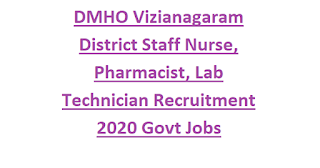 DMHO Vizianagaram District Staff Nurse, Pharmacist, Lab Technician Recruitment 2020 Govt Jobs Notification-GNM Application Form