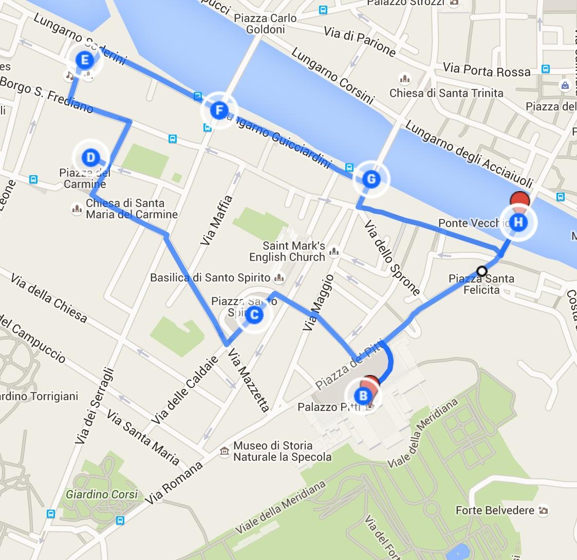 Firenze Cartina Centro Storico.Che Cosa Vedere In Oltrarno A Firenze Itinerario A Piedi Tra Storia E Meraviglie Una Penna In Viaggio