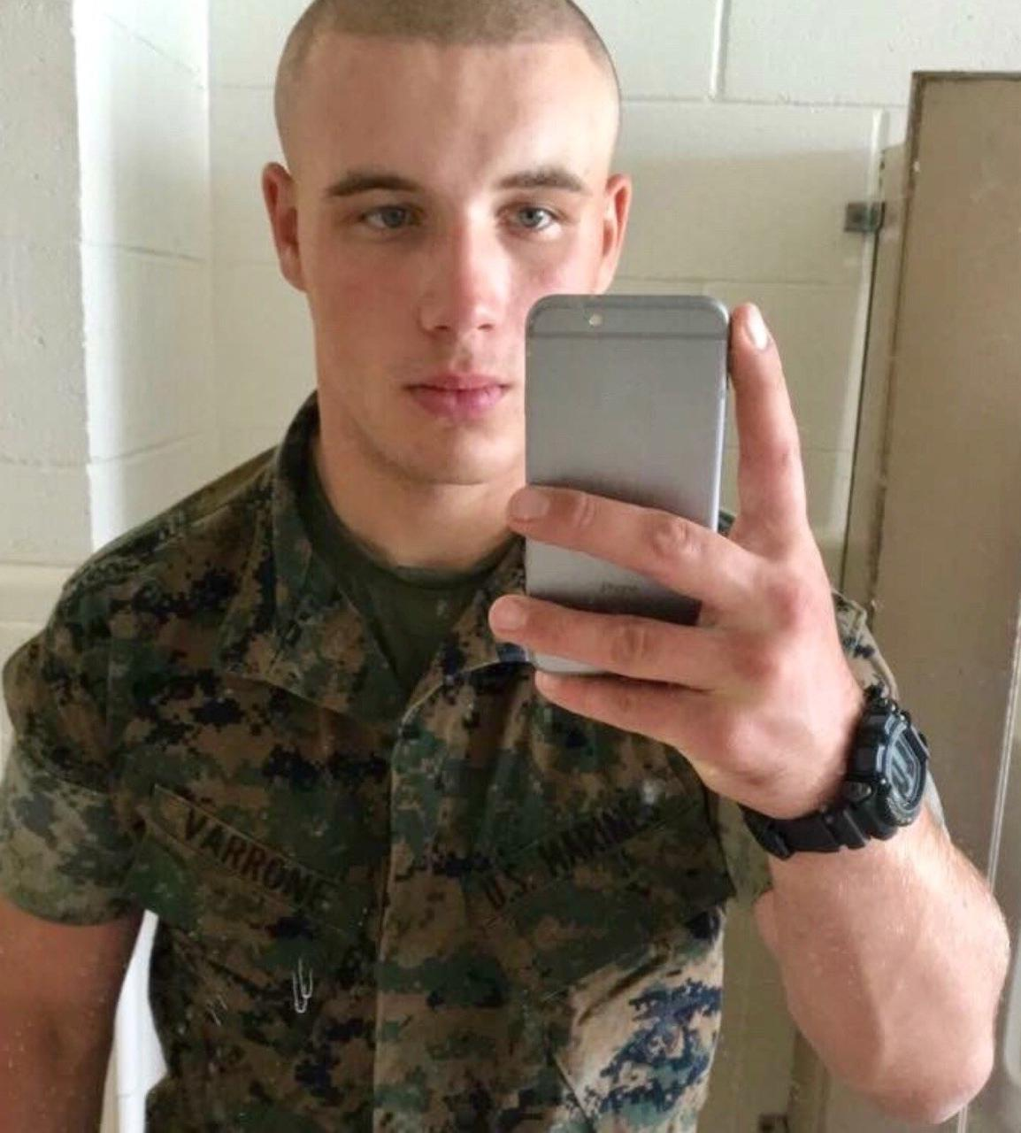 bald-handsome-male-us-marine-uniform-young-soldier-selfie