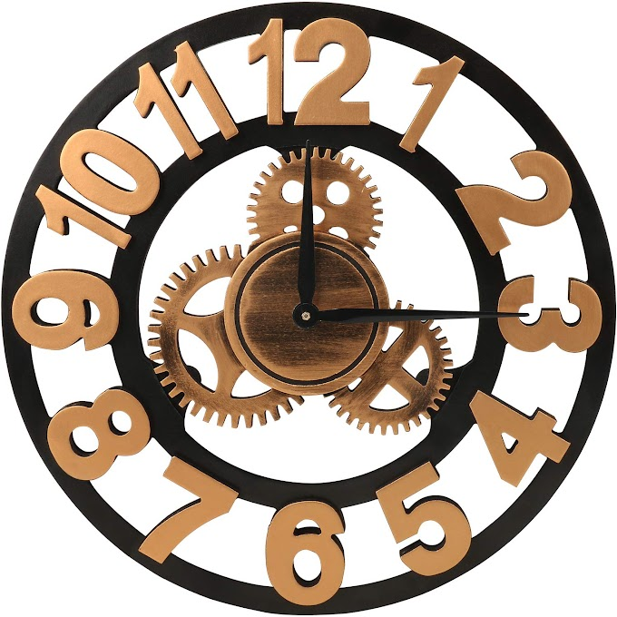 Retro Golden Wooden Large 3D Decorative Gear Wall Clocks,14 Inch