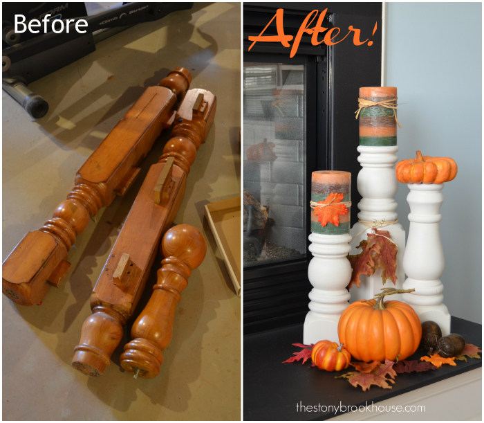 Bed Posts to Candlesticks Before and After