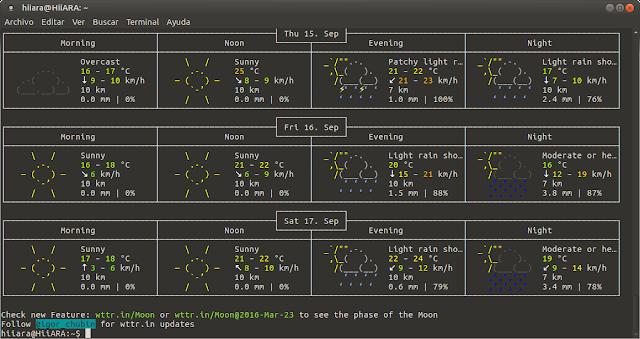 Saber el pronostico del tiempo desde la terminal en GNU/Linux - El Blog de HiiARA