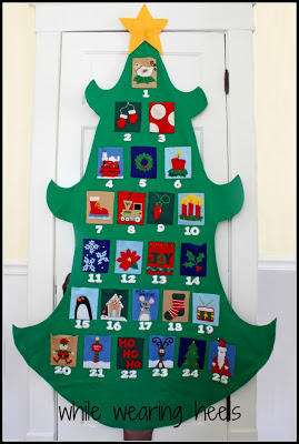 Pottery Barn Knockoff Kids Advent Calendar from WHile Wearing Heels - via Setting for Four