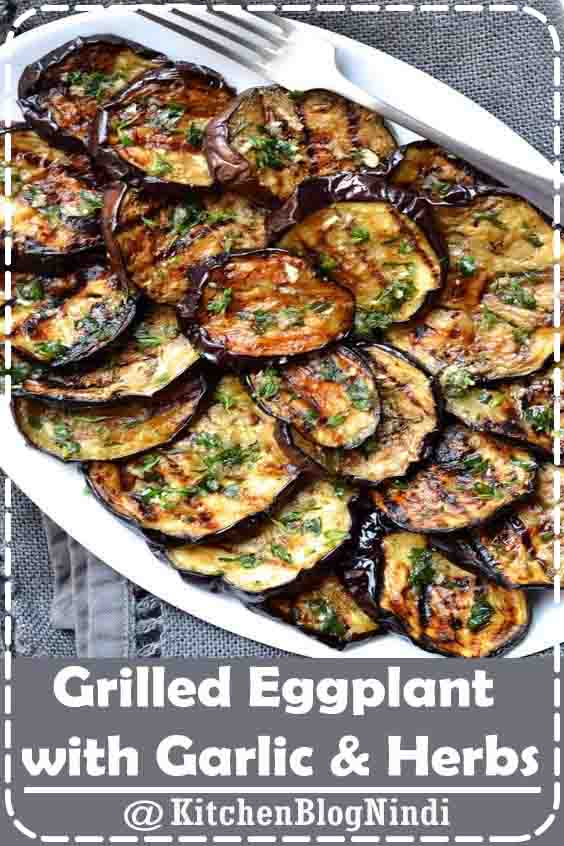 4.8★★★★★ | Grilled vegetables are my go to side dish for any summer barbecue. They are incredibly easy to prepare, go with just about anything, and can be made in advance. While most people grill zucchini, peppers and onions, my absolute favourite vegetable to grill is eggplant. Grilled eggplant (or melanzane, aubergine or brinjals depending on where). #GrilledEggplant #Garlic #Herbs