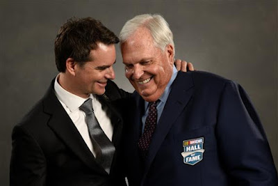 Rick Hendrick (right) and former NASCAR driver Jeff Gordon share a moment.