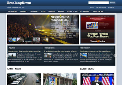 BreakingNewz magazine wordpress theme free download.