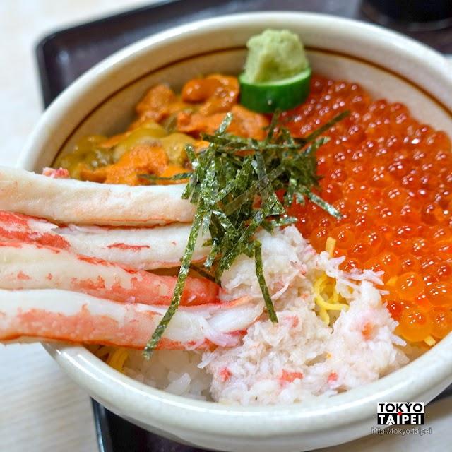 【惠比壽屋食堂】70年老店吃三色海鮮丼當早餐 4根蟹腳配新鮮海膽和鮭魚卵