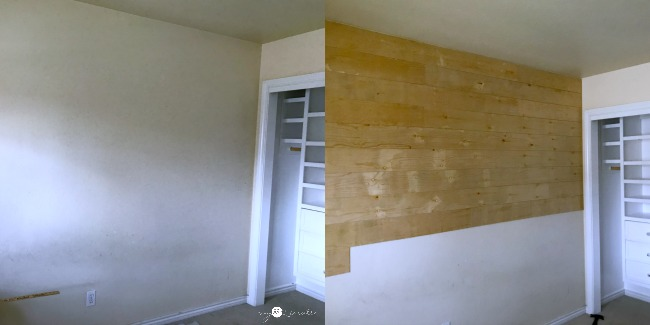 Plank wall in process