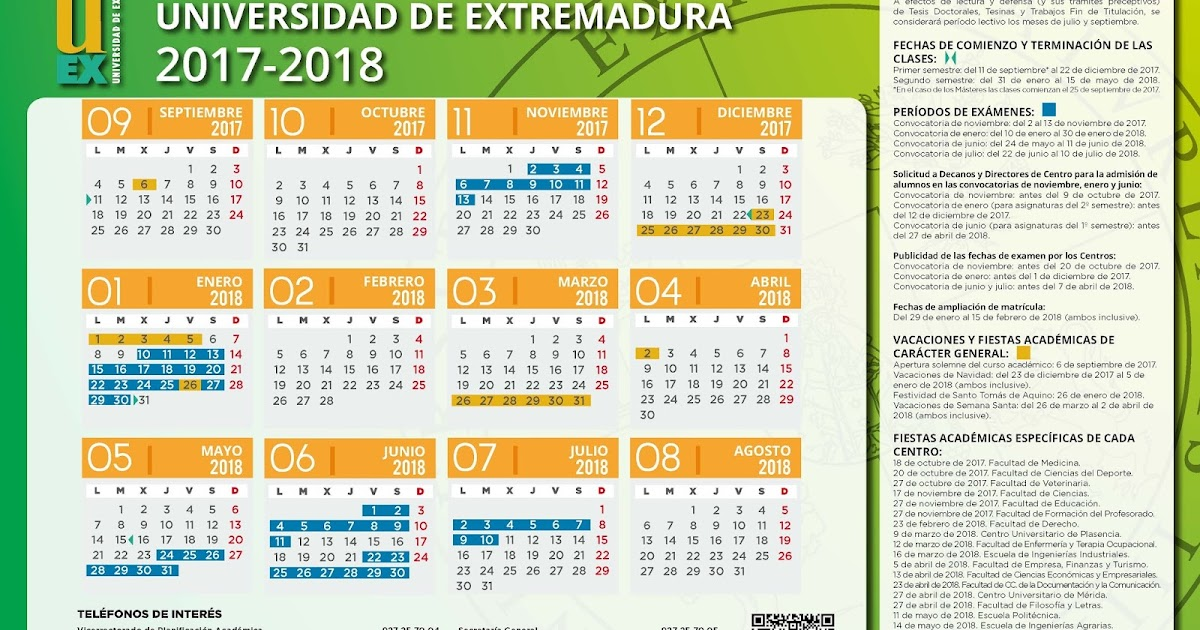 Calendario Uex.Consejo De Estudiantes Cum Calendario 2017 18