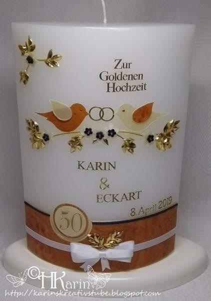 Karins Kreativstube Kerze Goldene Hochzeit Karin Eckart Vogelchen