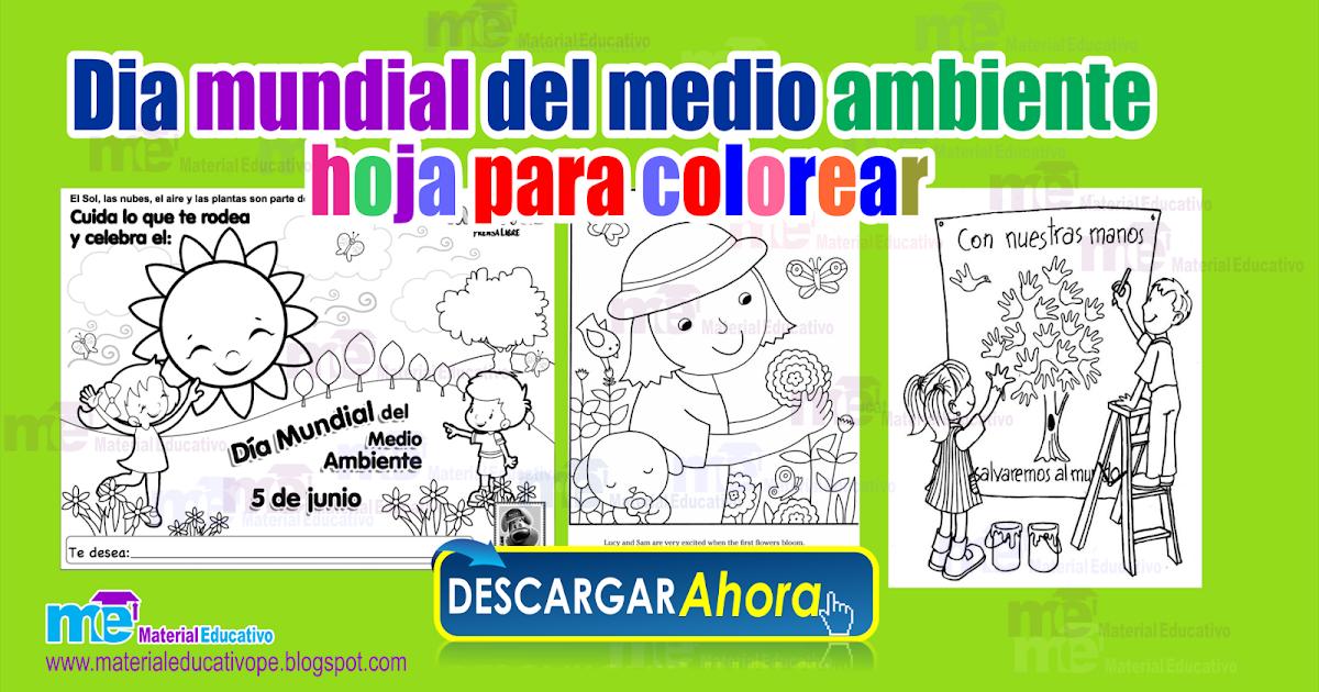 Dia mundial del medio ambiente, hoja para colorear ~ MATERIAL EDUCATIVO