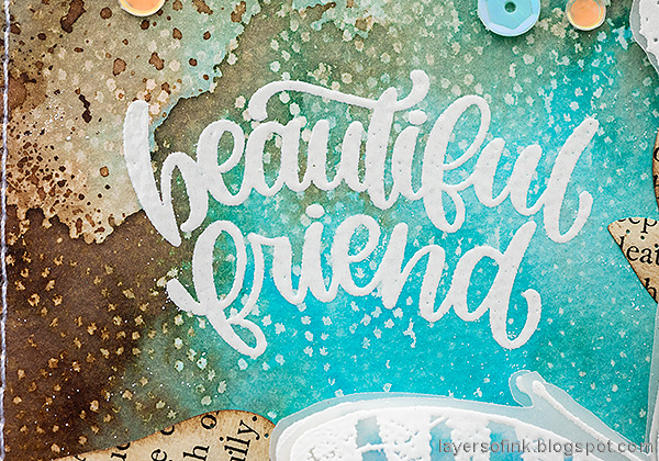 Layers of ink - Wax Paper Resist Video Tutorial by Anna-Karin Evaldsson. Friendship handmade card.
