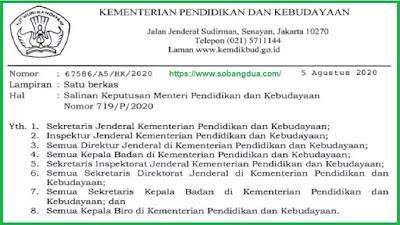Kepmendikbud NO 719/P/2020 Tentang Pedoman Pelaksanaan Kurikulum Pada Satuan Pendidikan