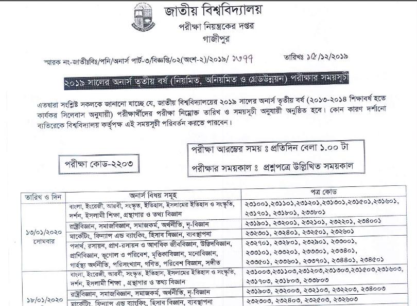 National University Hons 3rd Year Exam Routine
