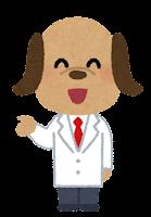 白衣を着た動物のキャラクター(犬・男性)