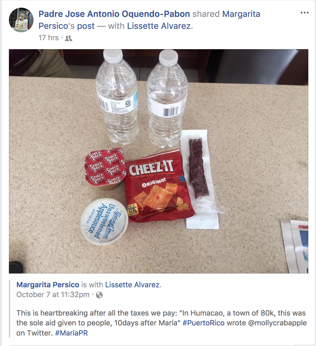fema box contents puerto rico posted to fb 7 october 2017