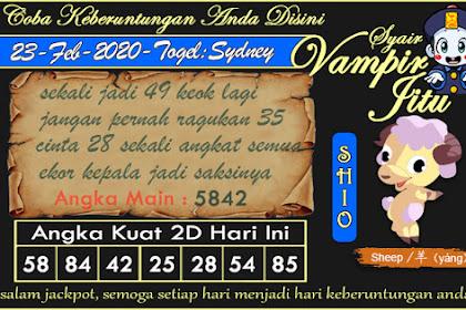 Syair Vampir Jitu Togel Sydney Minggu 23 Februari 2020