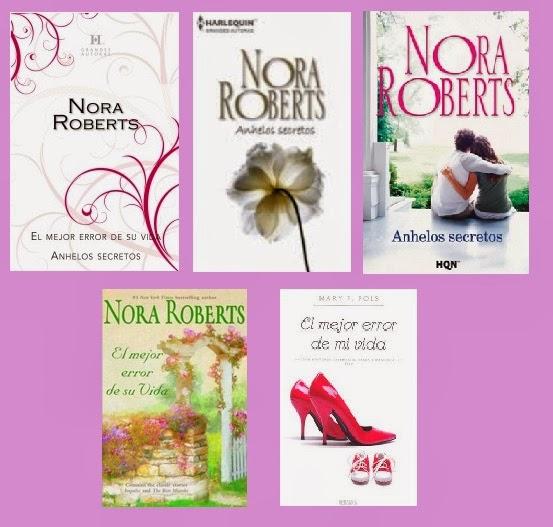 portadas de las novelas románticas contemporáneas El mejor error de su vida y Anhelos secretos, de Nora Roberts