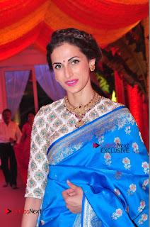 Actress Model Shilpa Reddy Exclusive Stills in Blue Saree at Vijay Karan Aashna Wedding  0021.JPG