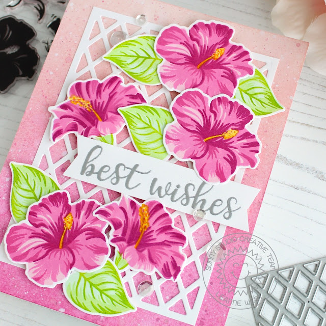 Sunny Studio Stamps: Hawaiian Hibiscus Everyday Greetings Frilly Frames Dies Floral Themed Cards by Leanne West and Eloise Blue