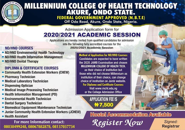 Millennium College of Health Tech Form 2020/2021 | HND, Diploma & Cert.