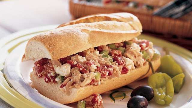 cup chopped drained roasted red bell peppers Greek-Style Tuna Salad Sandwiches Recipe