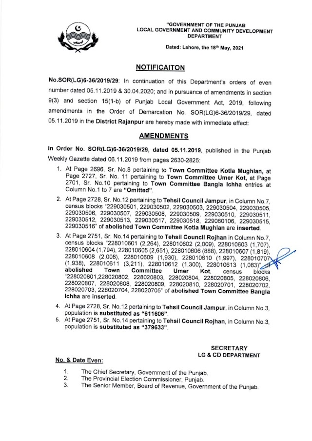 DEMARCATION OF TEHSIL COUNCILS AND ABOLISHED TOWN COMMITTEES OF DISTRICT RAJANPUR