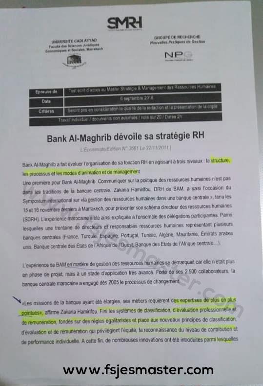 Exemple Concours Master Stratégie et Management des Ressources Humaines 2018-2019 - Fsjes Marrakech