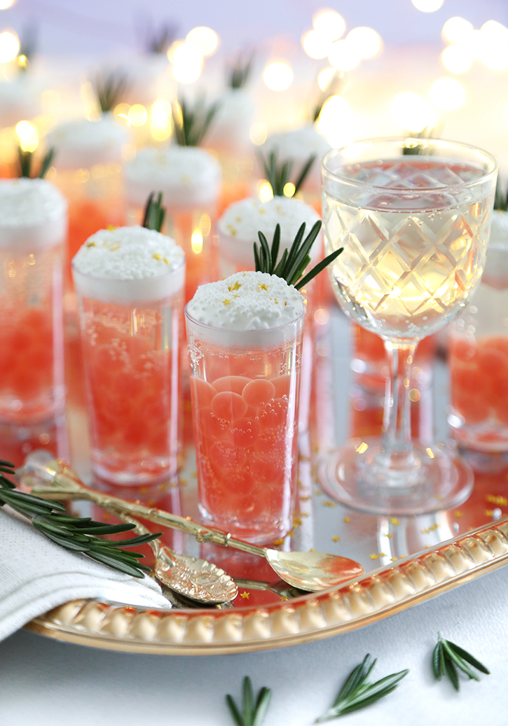 Champagne Jelly Shots with Pomegranate Bursting Boba