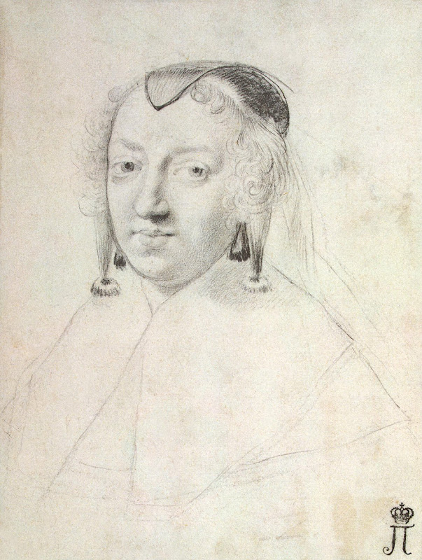 Portrait of Anne of Austria by Claude Mellan - Portrait Drawings from Hermitage Museum