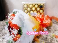 Kado Valentine Buket Mawar Orange Cantik Dengan Coklat Ferrero Rocher hmmm..Yummy