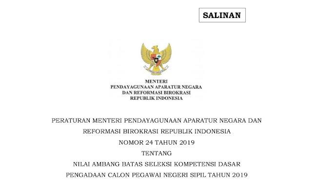 Pengecualian passing grade SKD CPNS 2020 (Permenpan-RB No. 24 Tahun 2019)