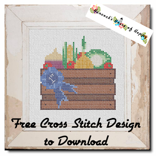 blue ribbon veg box cross stitch pattern