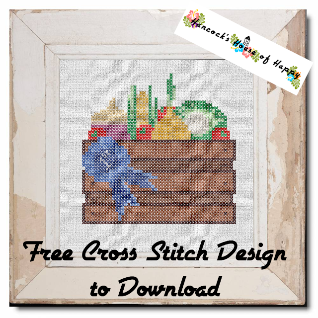 Fall Fair Week! Blue Ribbon Prize Winning Veg Box Cross Stitch Design to Download for Free