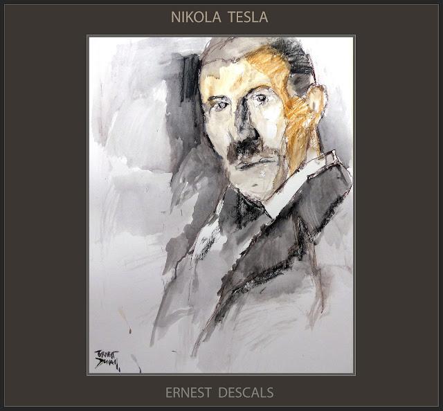 NIKOLA TESLA-PINTURA-ARTE-RETRATO-INVENTOR-CIENCIA-ELECTRICIDAD-MISTERIOS-PINTURAS-ARTISTA-PINTOR-ERNEST DESCALS-