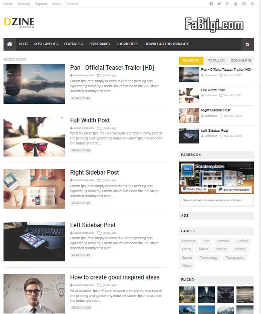 Blogger Reklam Alanlı Bedava Kişisel Site Teması İndir 2020 - Dzine Free