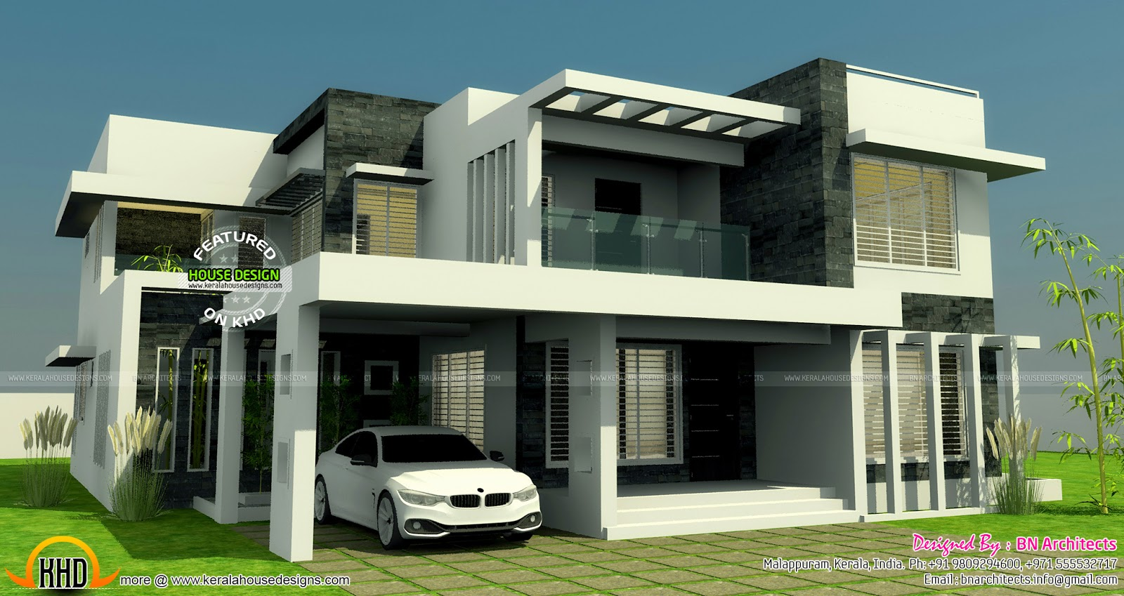 4 Bedroom Contemporary Beautiful Kerala Home Design With