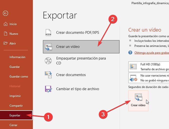 Pasos para exportar en formato video las diapositivas en powerpoint