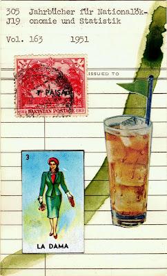 loteria la dama woman tall drink coke Pakistani postage stamp library card Dada Fluxus mail art collage