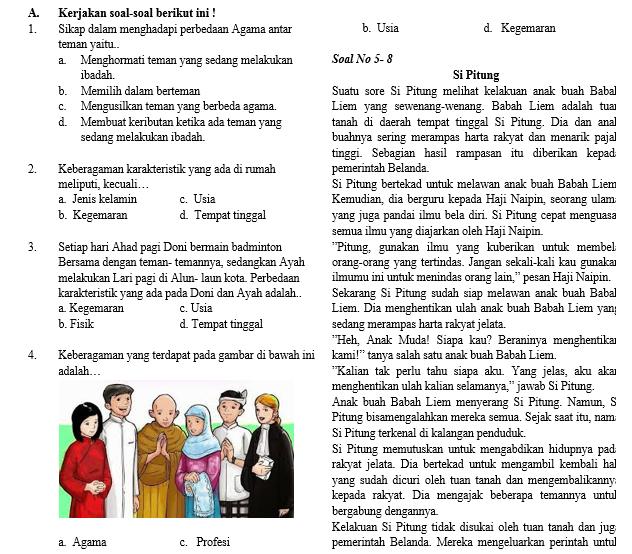 Soal Semester Tema 8 Kelas 4 SD/MI